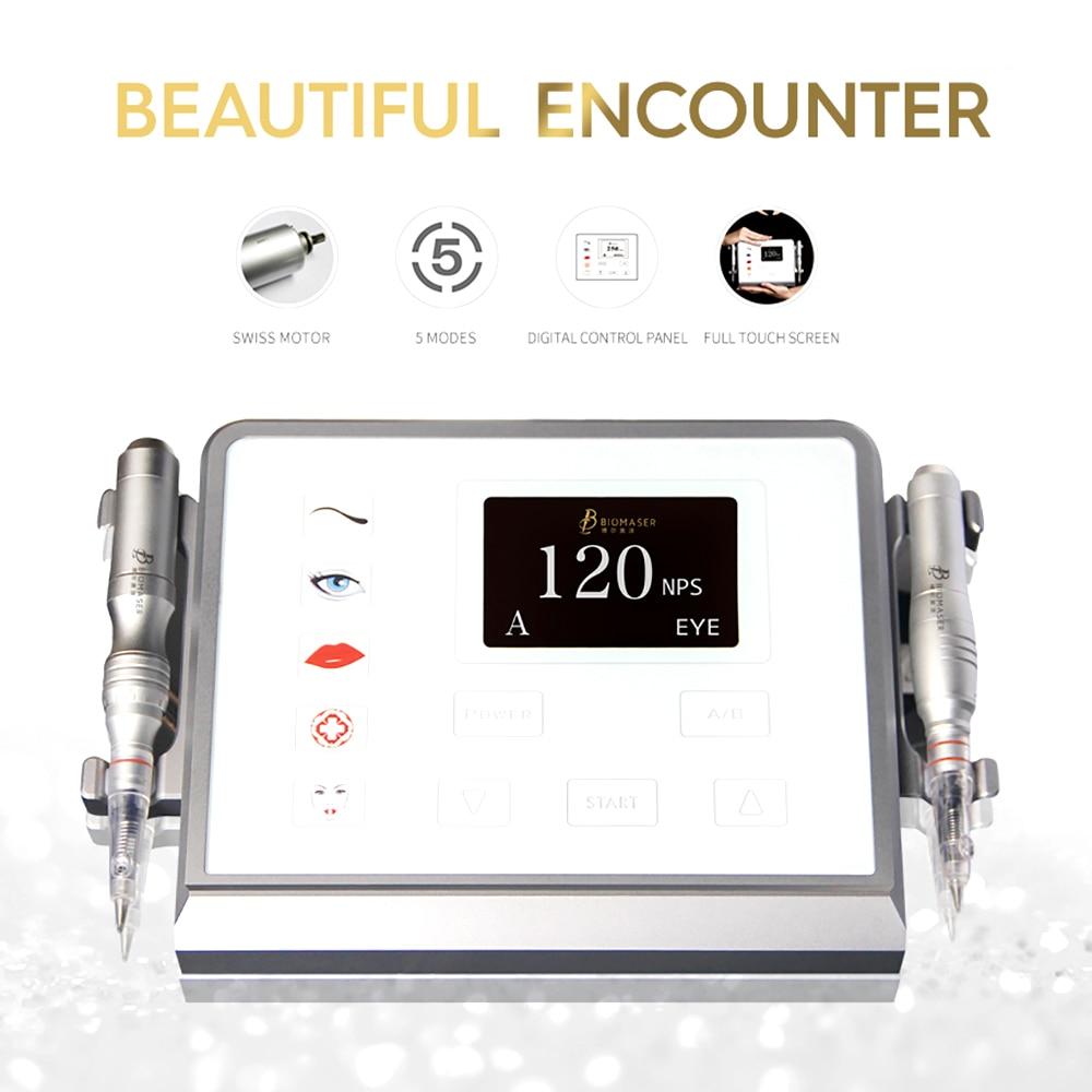 Biomaser P1 Permanent Makeup Machine Device Kit 12V Coreless Motor 5 Mode Intelligent Digital Touch Screen Machine Tattoo Set