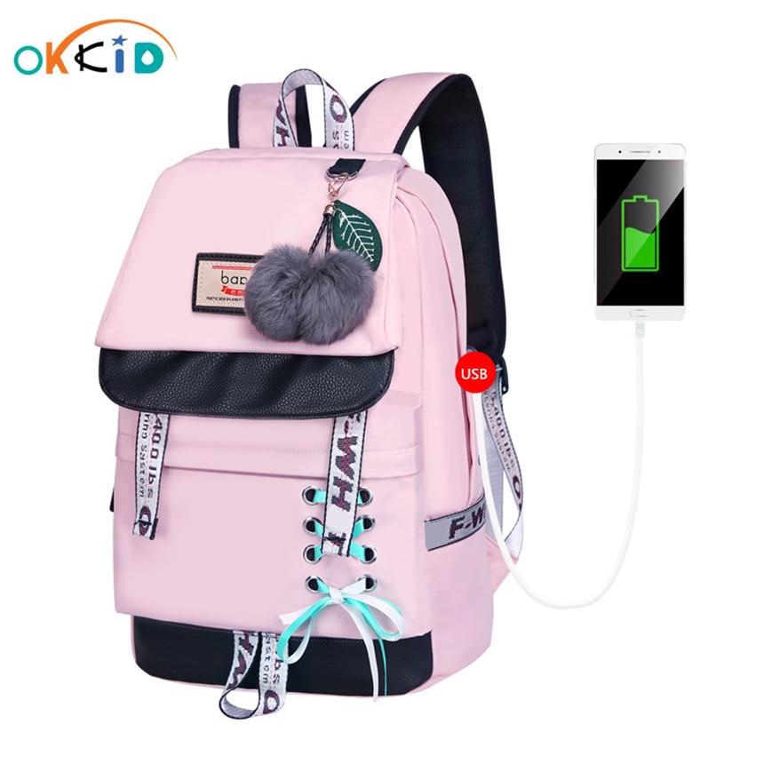 OKKID الأطفال الحقائب المدرسية للفتيات لطيف الوردي على ظهره المدرسية الكورية نمط bowknot الفراء الكرة فتاة حقيبة المدرسة bookbag