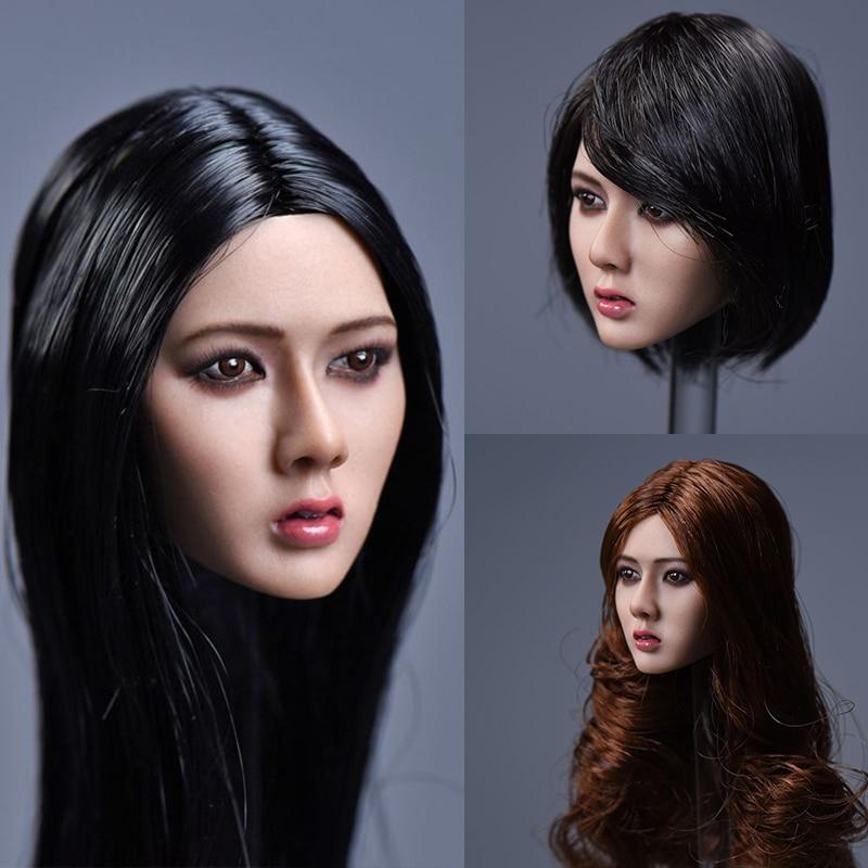 YMTOYS 1/6 Asian Girl Xiu Long Short Hair Head Sculpt Carved PVC Model for 12'' PH TBL Female Suntan Color Action Figure недорого