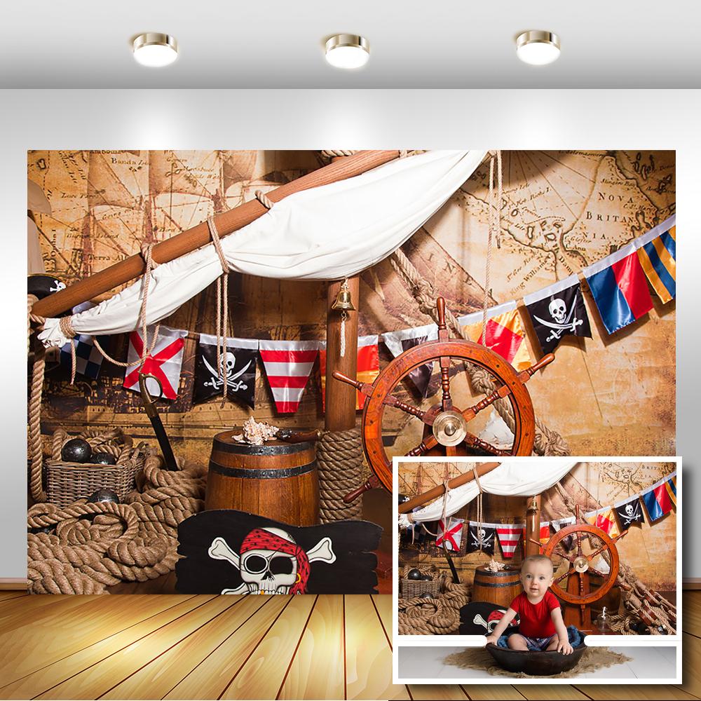 Barco Pirata cubierta navegación fotografía fondos aventura mapa bebé ducha cumpleaños fiesta telón de fondo piso de fondo de foto