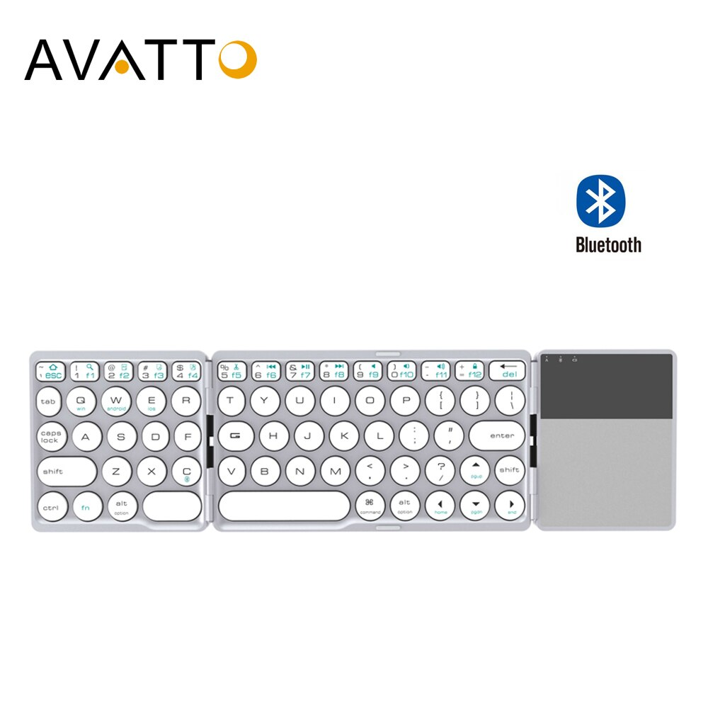 [AVATTO] Bluetooth Drahtlose Faltende Tastatur mit Touchpad, faltbare BT Mini Tastatur für Telefon Tablet Laptop PC ipad iphone