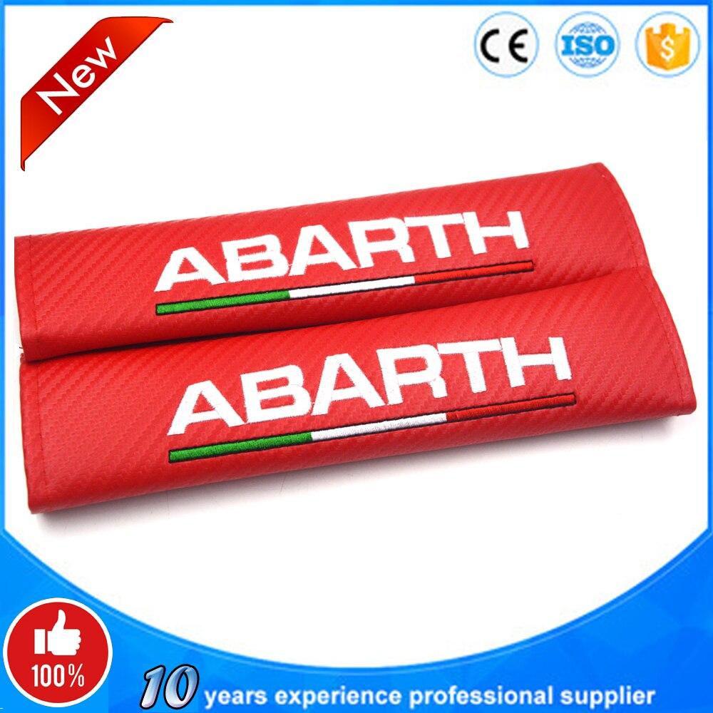 2 pçs/set abarth logotipo bandeira italiana logotipo macio cinto de segurança capa almofadas de ombro capa de cinto de segurança do assento do carro com bordado