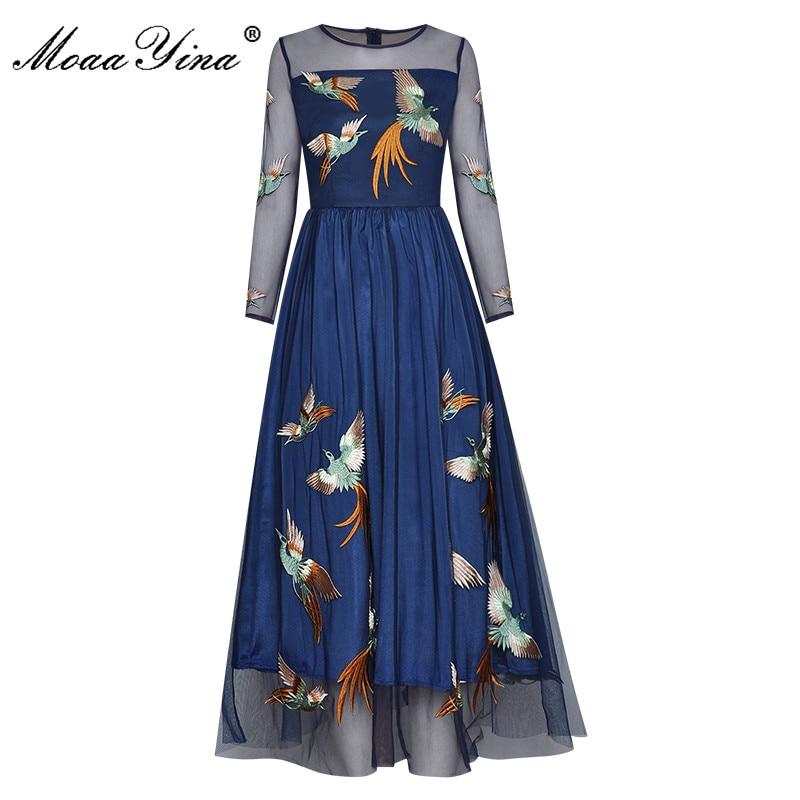 فستان نسائي MoaaYina على الموضة, فستان مطرز شبكي بأكمام طويلة مناسب للربيع