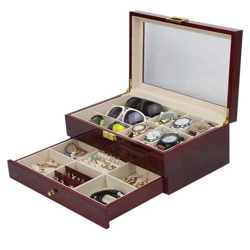 Double Layer Watch Box Organizer Wooden Glasses Jewelry Brown Storage Box Drawer Big Watch Box Case Wood Display Box Gift Ideas