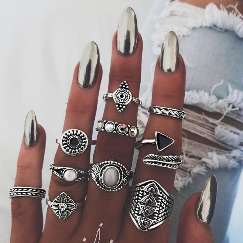 aliexpress.com - docona 10pcs/set Leaf Crystal Opal Stone Midi Ring Sets Vintage Knuckle Rings for Women Anillos Mujer Jewelry 4846