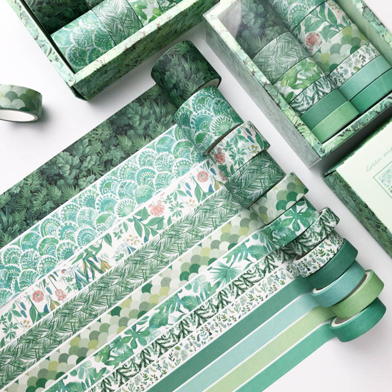 12Pcs/Set Green Plant Washi Tape Solid Color Masking Tape Decorative Adhesive Tape Sticker Scrapbooking Diary Stationery Supply