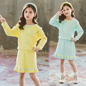 Cute Baby Girls Knit Sets Autumn New Long Sleeve Doll Collar Sweater + Skirt 2pcs Kids Clothes Fashion Children Outfits