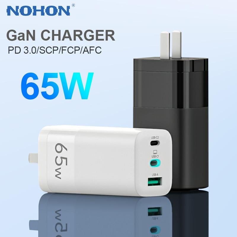 Nohon 65W Gan Pd Usb C Lader Voor Iphone Charger Fast Quick Lading Draagbare Cargador Voor Macbook Tablet