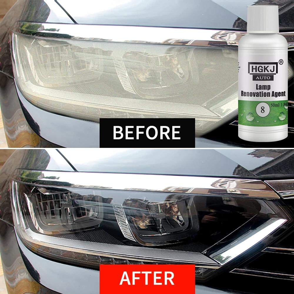 Средство для ремонта автомобильных фар HGKJ, Полировочная жидкость для автомобильных фар, 8 ламп, стойкая защита от окисления