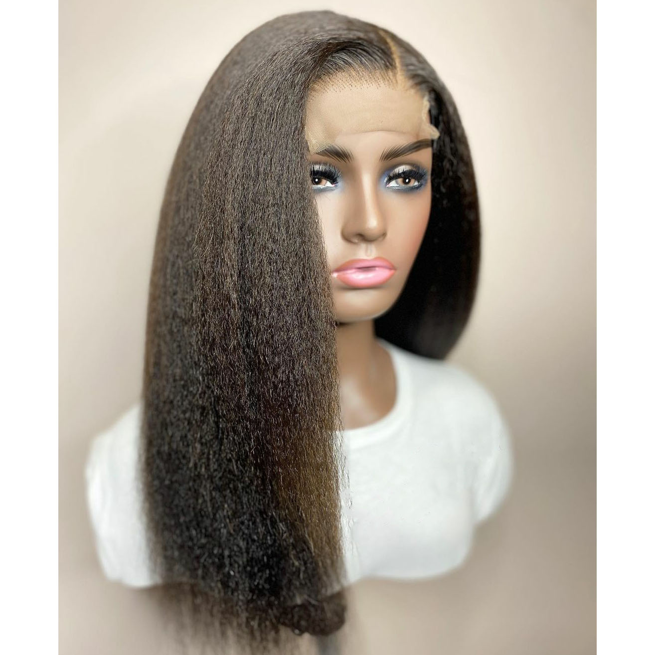 Natural Black Yaki Straight Synthetic Hair Lace Frontal Wig With Natural Hairline High Temperature Glueless Lace Wigs For Women