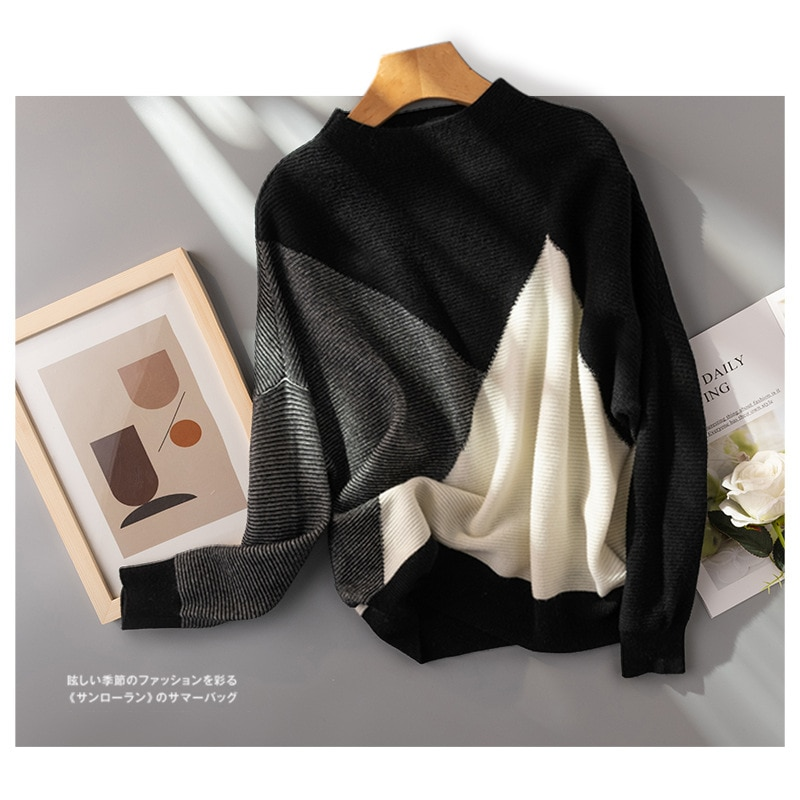 Shuchan 100% Wool Knit Sweater Pullover Autumn Winter New 2021 England Style Voluminous Sweaters for Women A-straight enlarge