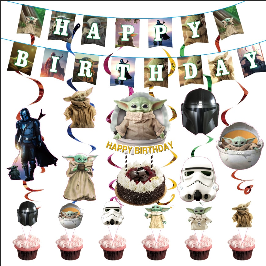 Yoda Baby Disposable Party Tableware Mandalorian Birthday Decoration Paper Cups And Plates Kids Shower Birthday Party Supplies 40pcs unicorn paper plates large 23cm plates baby shower bbq summer party decor birthday party paper plates wedding decoration
