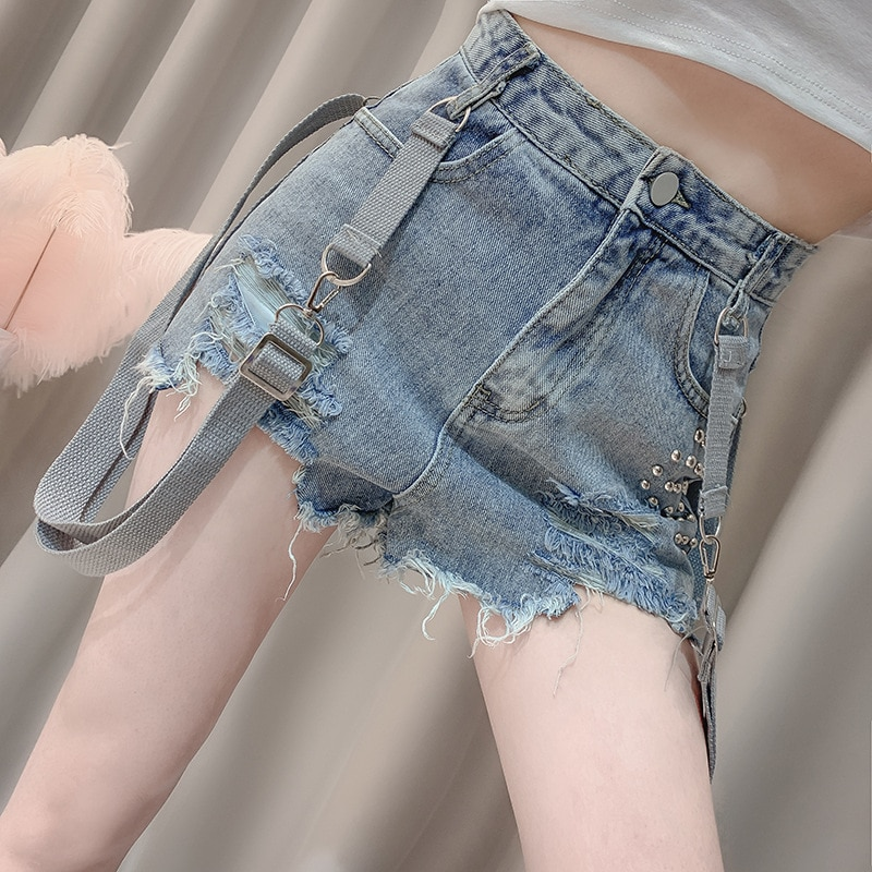 Woman Jeans  High Waisted Jeans Korean Nail Bead Holed Strap Pants Cotton  Shorts  Tassel  Shorts