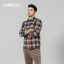 SIMWOOD 2020 spring new plaid shirts men long sleeve 100% cotton checked shirt high quality plus size brand clothing  SI980763