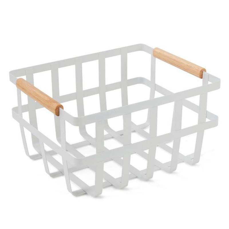 سلك الغذاء المنظم صندوق تخزين سلال مع مقابض الخيزران ل خزائن المطبخ/مخزن مخزن الفاكهة ، المعكرونة ،