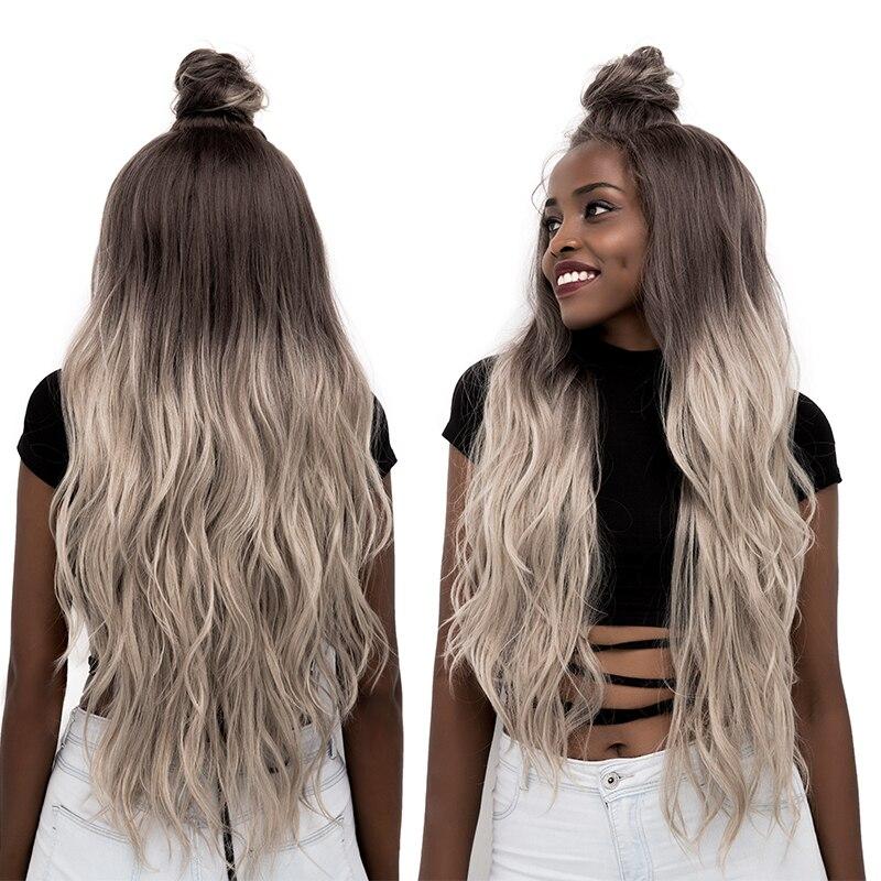 Pelucas frontales de encaje sintético de color gris, peluca de encaje para mujeres negras, pelucas frontales de encaje con pelo de bebé