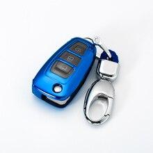 Étui à clé en TPU étanche pour voiture   Pour Ford Focus 2 3 MK3 ST RS Ecosport Fuga Escape Fiesta pliable, 3 boutons Auto coque de clé