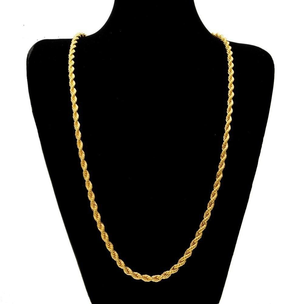 6MM 24 Zoll Twist Seil Halsketten 304 Edelstahl Gold Farbe Kette Hip Hop Punk Schmuck Für Männer Großhandel