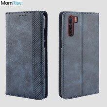 For OPPO A91 / F15 Case Book Wallet Vintage Slim Magnetic Leather Flip Cover Card Slot Stand Soft Co