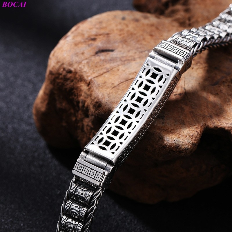 BOCAI 100% S925 Sterling Silver Bracelet Men's Six Character Truth Handmade Woven Thai Silver Hand Chain Pure Argentum Jewelry