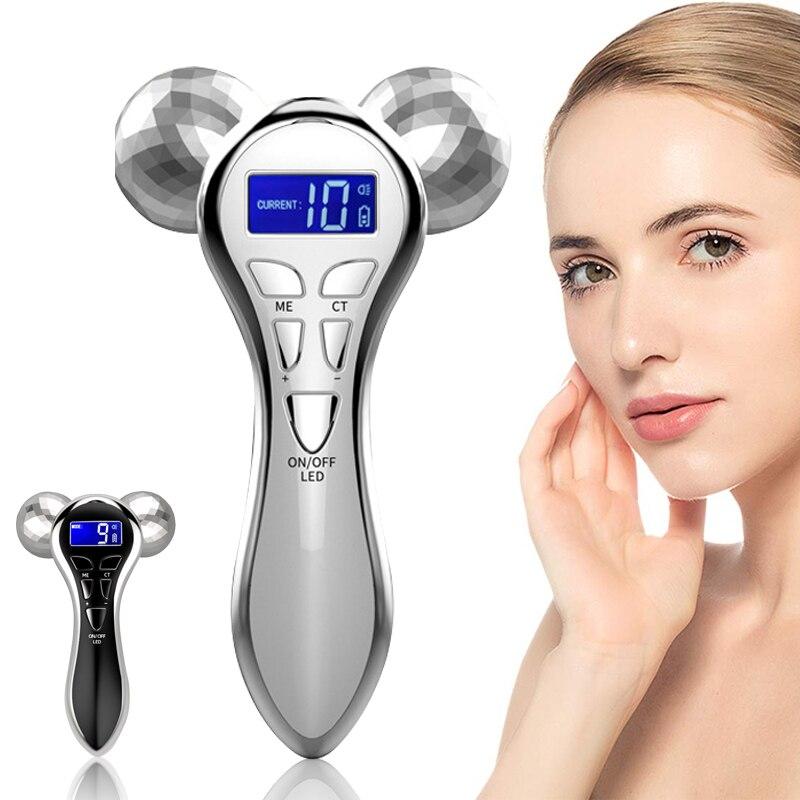 4D الوجه رفع مدلك المتداول جهاز Y شكل الأسطوانة الدورية مايكرو الحالي تهتز آلة شفط الدهون الجلد رفع تشديد