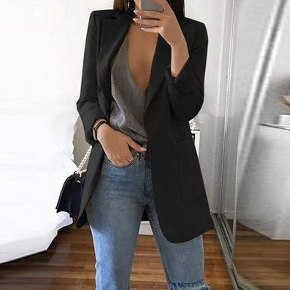 Blazer de señora, Chaqueta de traje de manga larga, chaqueta femenina, Blazer de mujer caqui gris negro otoño