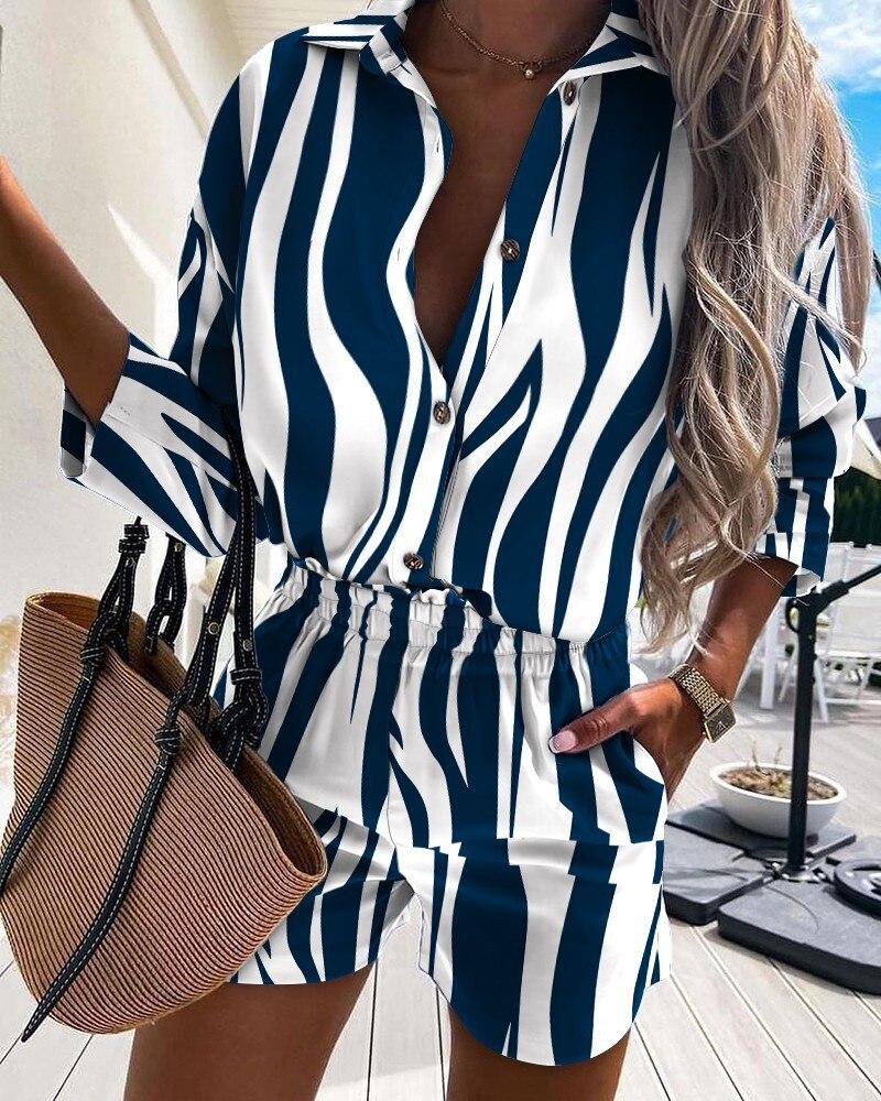 Распродажа 2021 Женская одежда в европейском и американском стиле из двух предметов в полоску с пуговицами и длинными рукавами
