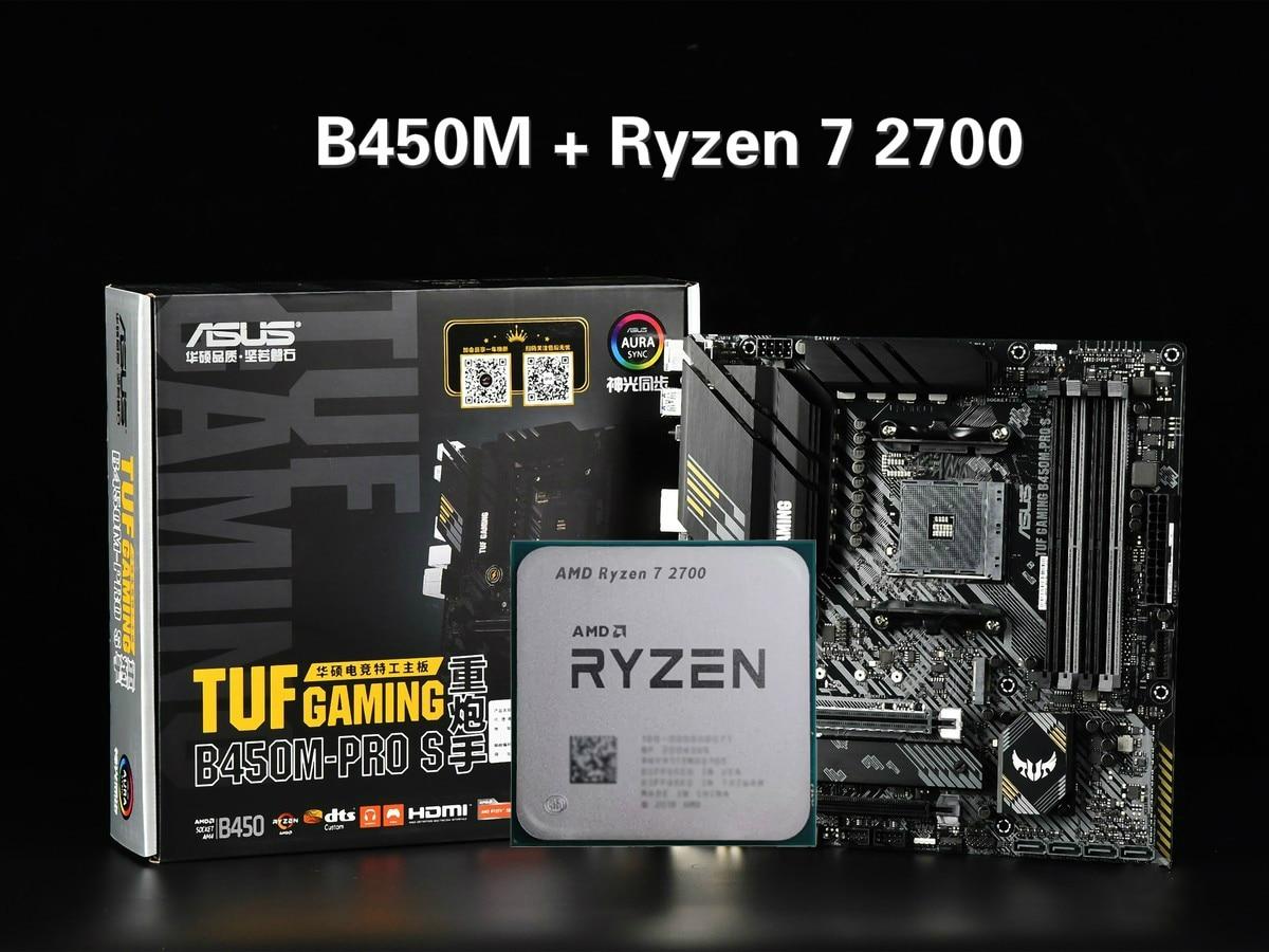 ASUS TUF الألعاب B450M-PRO S اللوحة مجموعة كومبو مجموعة Ryzen 7 2700 AM4 وحدة المعالجة المركزية DDR4 B450