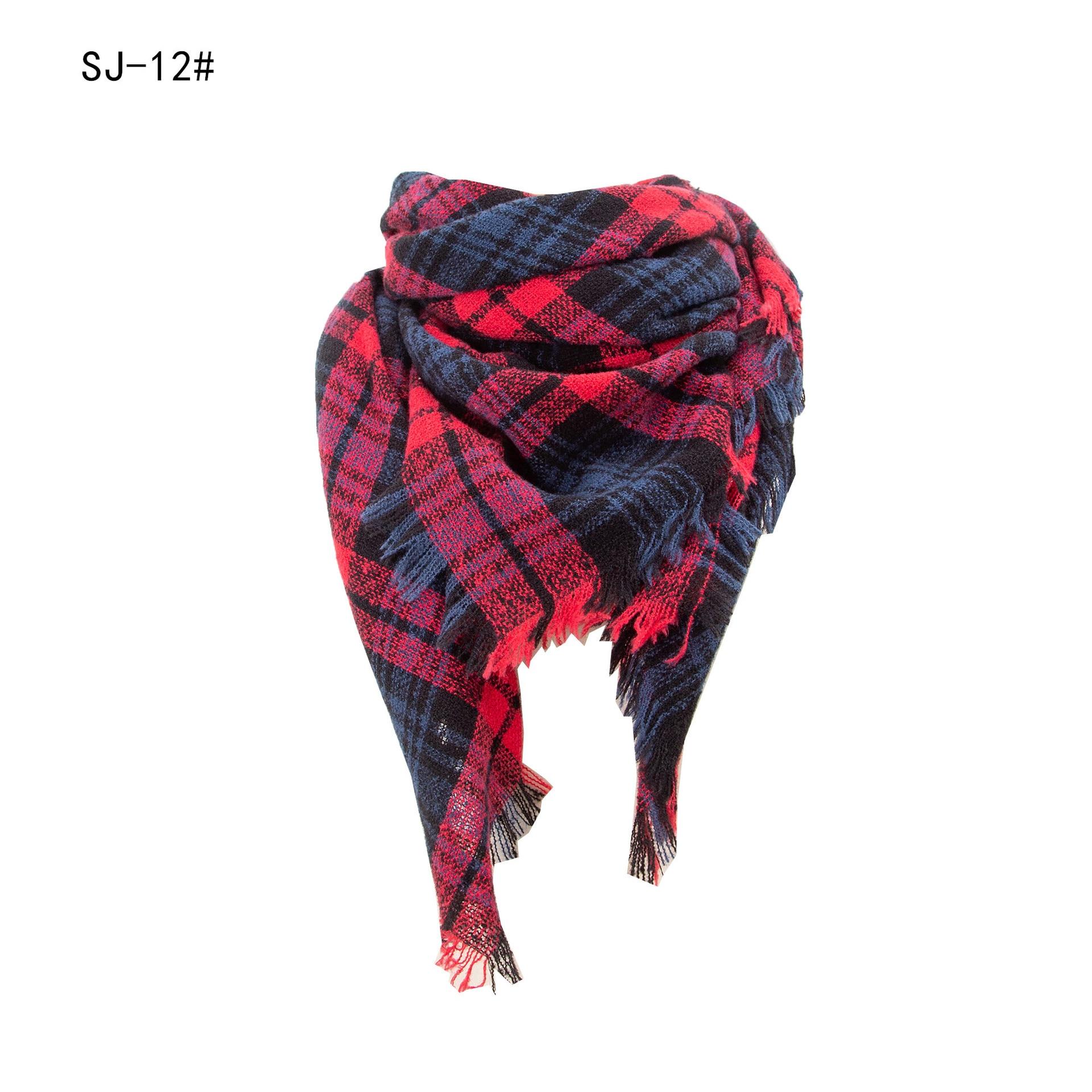 Новый европейский и американский шерстяной вязаный теплый шарф бандана в клетку треугольный шарф мусульманская женская бандана шарф нагру...