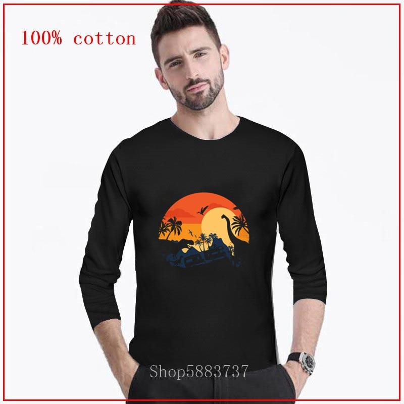 2020 Camiseta larga para hombre VISIT DINO LAND harajuku 100% algodón grunge streetwear camiseta para Hombre Ropa tops estampados camisetas