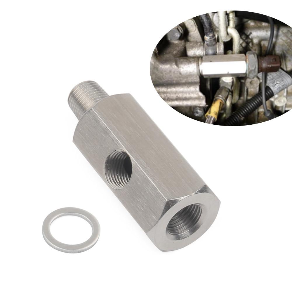 1/8 BSPT Sensor de presión de aceite t a NPT adaptador Turbo suministro línea de alimentación manómetro acero inoxidable