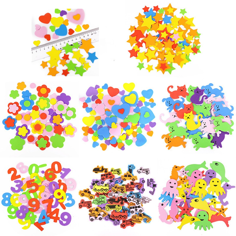 Geometric Figure Foam Sticker Star Heart Animals Foam Stickers Kid Toy Early Educational learning kindergarten Craft Diy Toy multifunction educational learning machine english early tablet computer toy kid interactive toy training
