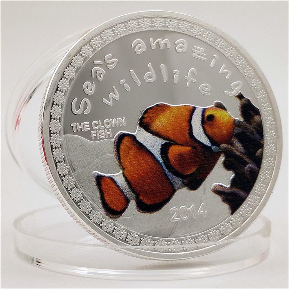 Монета с животными, Конго, часы с тропической рыбой, подарок для океана, памятная монета, памятная монета, серебряная монета, поделки, коллек...
