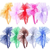 1pc lace bow headband women 80s costume accessories bowknot satin hair bands stretchy bands hair accessories for girls kids