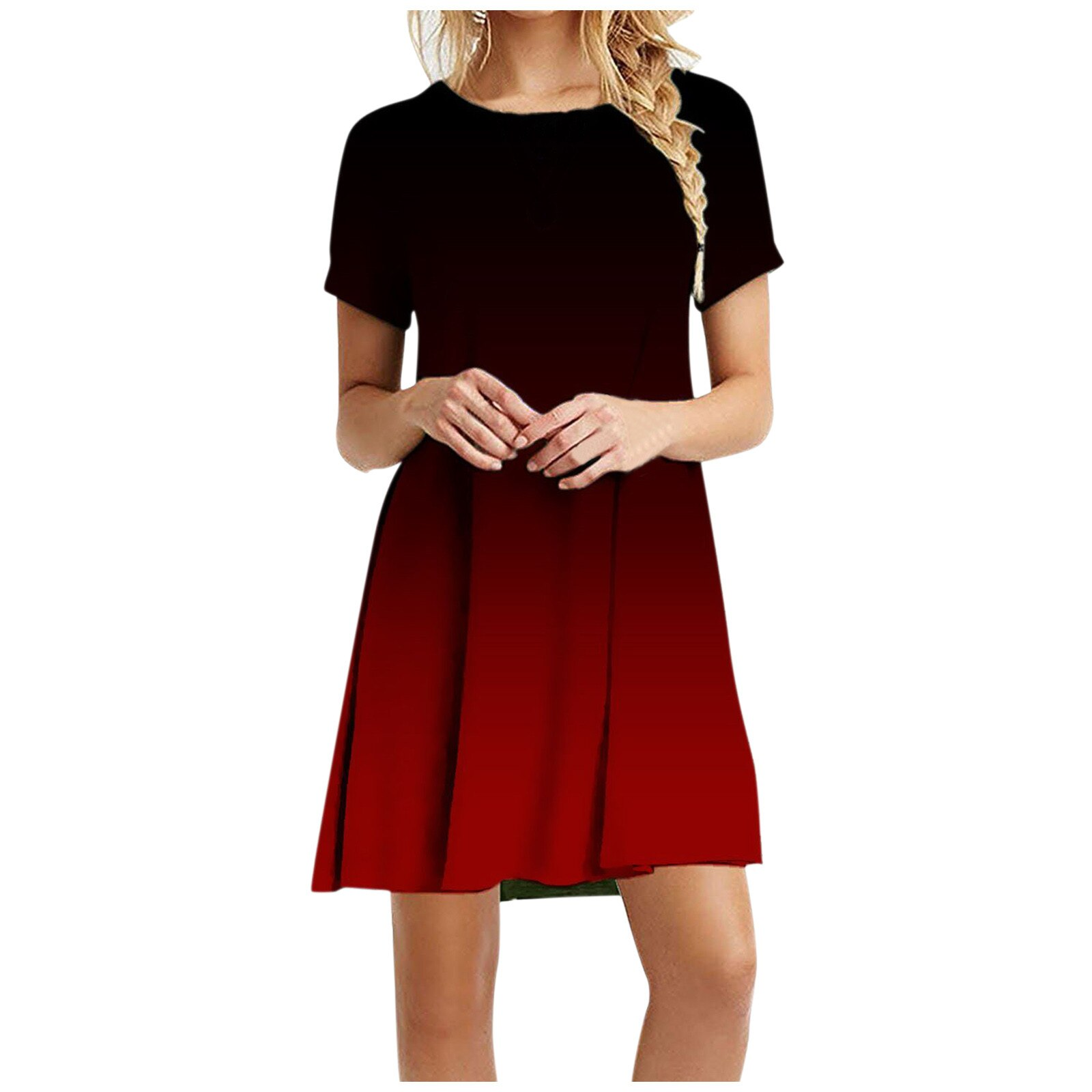 Plus Size Mini Dress Women 2021 Short Sleeve O-neck Dresses Sexy Women Summer Elegant Dresses Office Basic Dress Fenimine C2