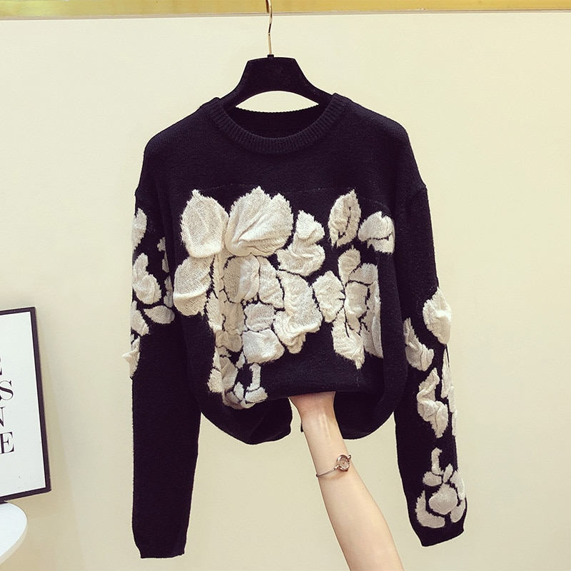 Фото - 2021 Autumn Winter Clothes for Women Three-dimensional Flower Pullovers Top Retro Loose Long-Sleeved Sweater Women Warm Sweaters three women