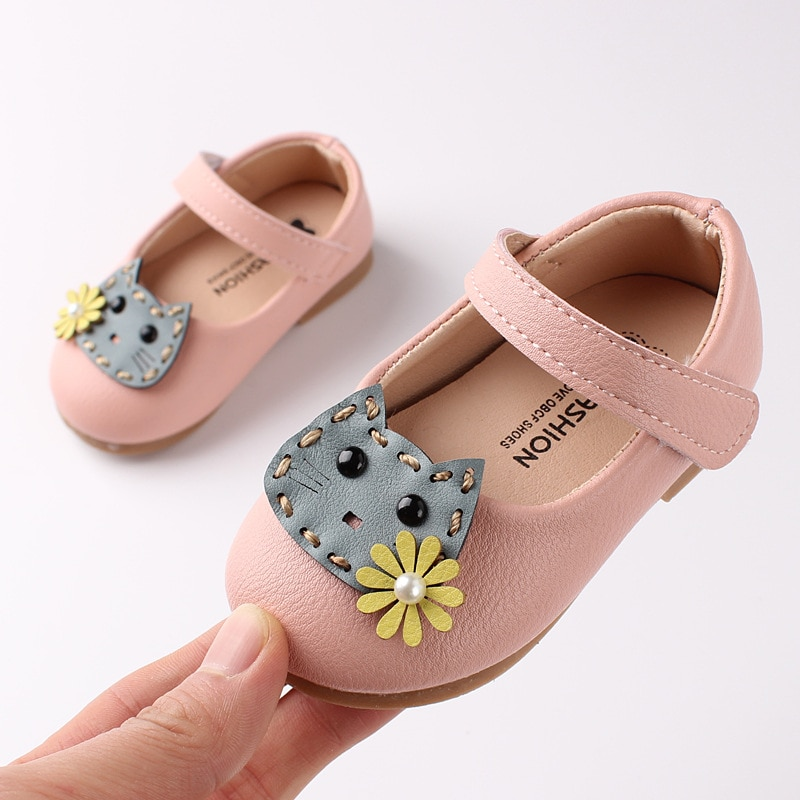 Spring  Autumn Little Girl Shoes Cute Cartoon Patent Leather Princess Shoes Fashion Soft Bottom Non-slip Toddler Shoes