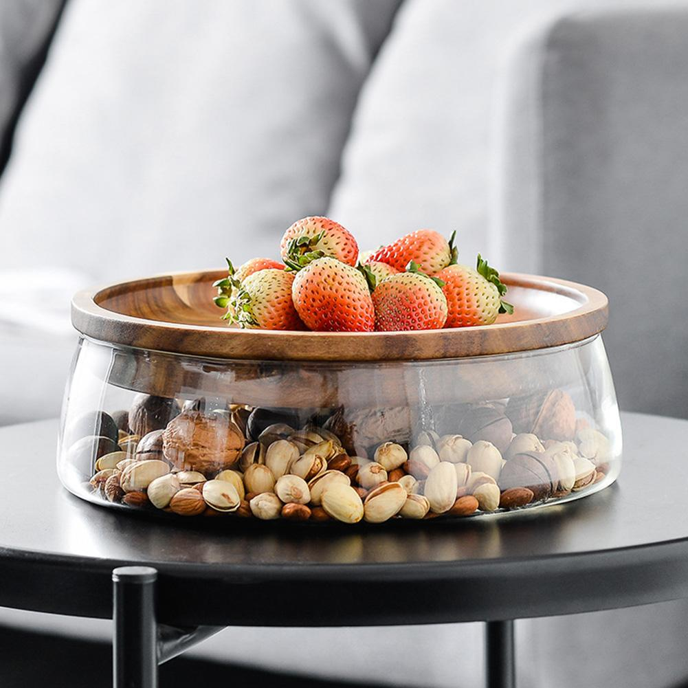 Acacia Wood Fruit Nut Storage Box Double Layer Candy Storage Box Glass Fruit Container with Wooden Lid for Home Kitchen