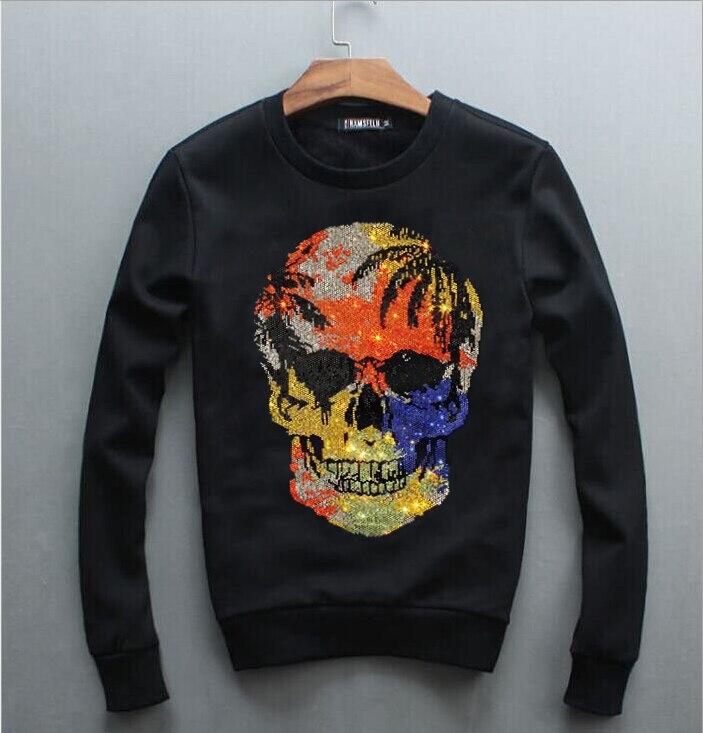 Winter Round Collar Sweatshirt Autumn Diamond stone  Men O-neck Hoodies Boys Hot drill O Neck Pullover Fashion Tops