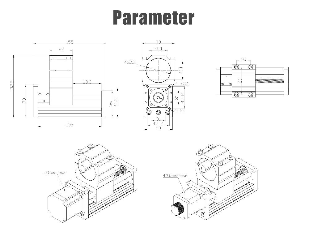 CNC router Z axis parts T-Screw Aluminum Sliding platform 65/85mm Stroke 300/500W Spindle Suit Nema17 Stepper motor for 30*18 enlarge