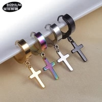 bosaruomo li na difficult allergic cross er kou korean fashion titanium steel punk earrings stainless steel tide earrings