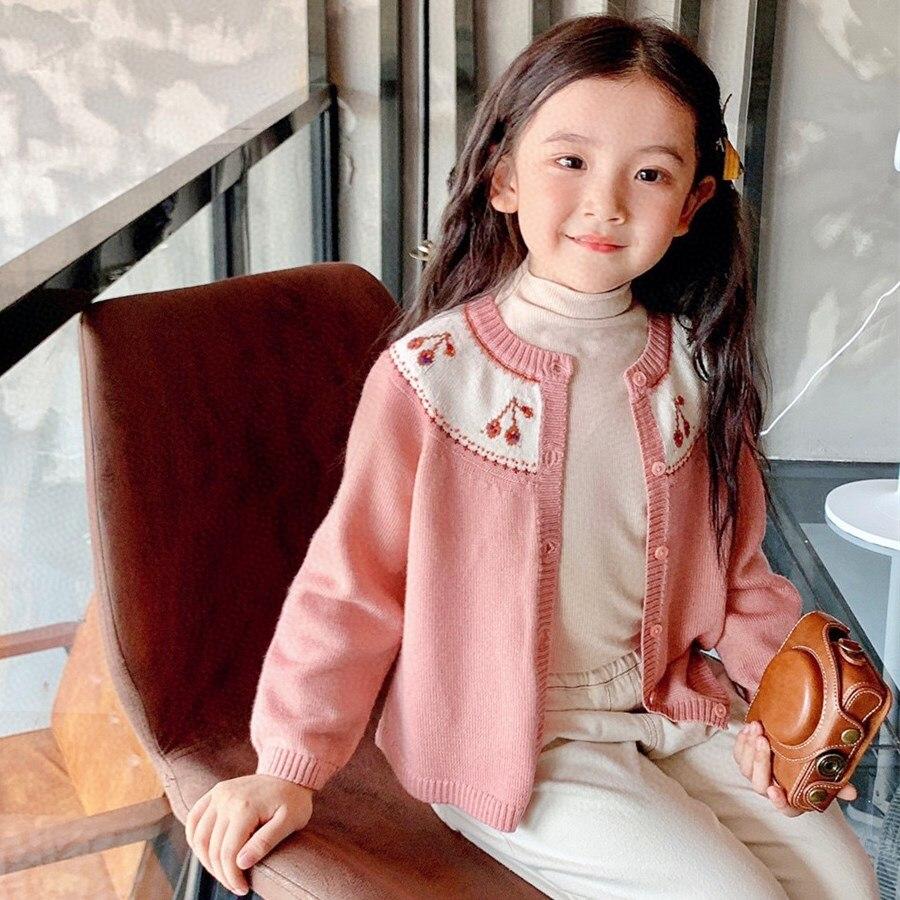 قبل البيع 10.20 سفينة بنات كارديجان وردي اللون الكرز سترة منسوجة تريكو خمر نمط عالية الجودة القطن الفتيات بالأزرار