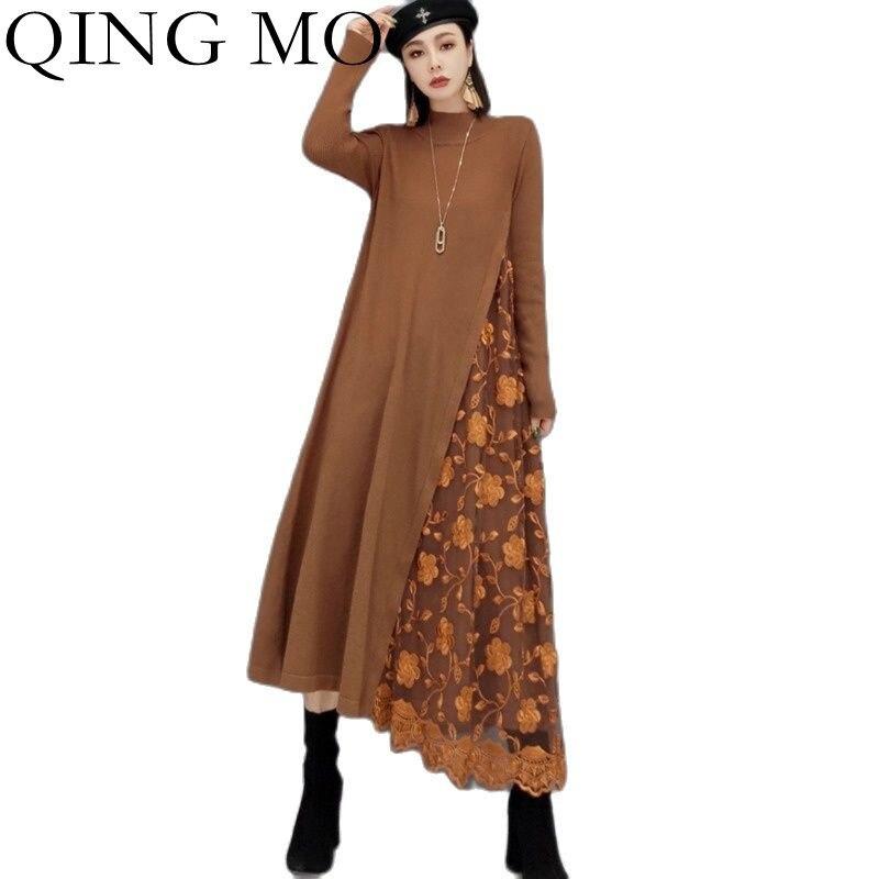 تشينغ مو الخريف موضة خياطة شبكة التطريز عالية الرقبة محبوك فستان المرأة 2021 جديد سليم مزاجه سترة فستان ZWL965