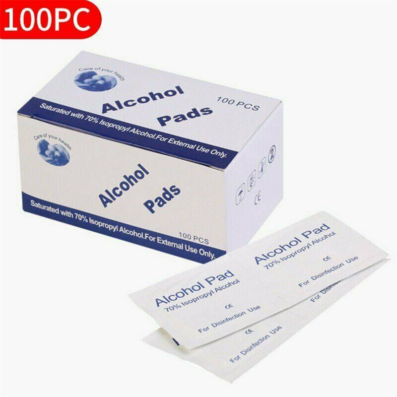 100pcs Portable Alcohol Prep Pads Swab Disinfection Wipes 75% Alcohol Skin Cleaning Care Personal Ho