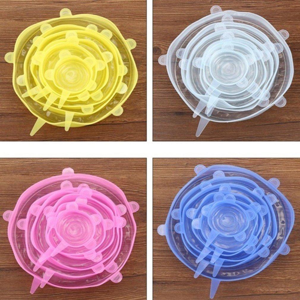 Envoltura de silicona reutilizable para papel para guardar alimentos frescos, accesorios de cocina, tapa de sellado de silicona para comida, 6 uds./3 uds.