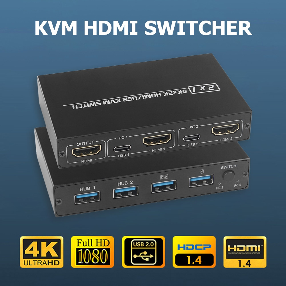 hdmi compatible kvm switch 2 port 4k household computer accessories for 2 pc sharing one monitor keyboard mouse printer HDMI-compatible KVM Switch 2 Port 4K Household Computer Accessories for 2 PC Sharing One Monitor Keyboard Mouse Printer