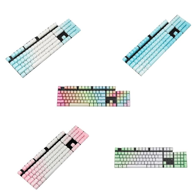 أغطية مفاتيح PBT 104 أغطية مفاتيح بإضاءة خلفية مزدوجة حقن اللون للوحة المفاتيح الميكانيكية MX مفاتيح أغطية مفاتيح OEM