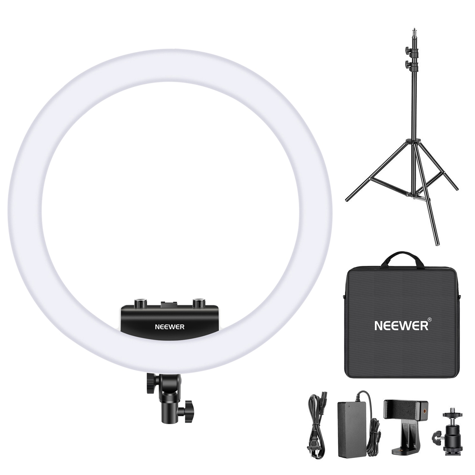 Neewer Ring Light Kit [Upgraded Version-1.3cm Ultra Slim]-18 inches 3200-5600K Dimmable LED Ring Light with Light Stand ,Holder