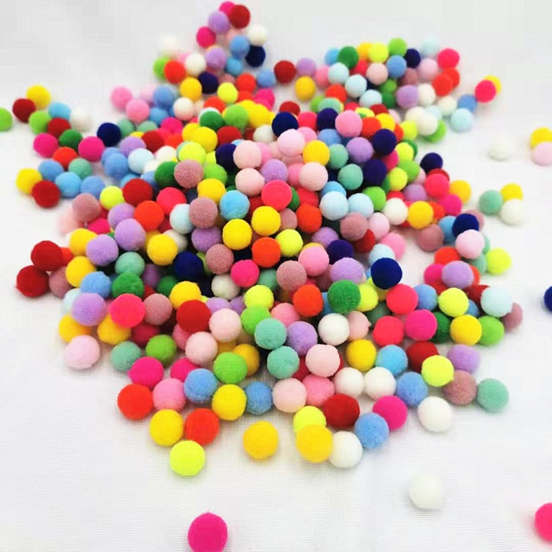 Children's toys pompons needlework 10/15/20/25mm High elastic Pompom Ball DIY Glue Sewing DIY hobby