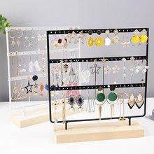 3 niveles, 36/57/69 agujeros, pendientes de madera, organizador de joyería, soporte de exhibición, soporte de Metal para joyería, pendientes, estante para collares, exhibidor